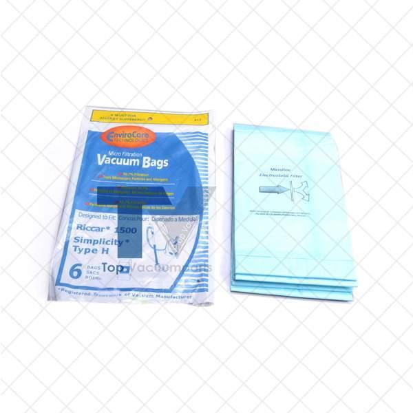 Riccar Simplicity Type H, Series 1500 Vacuum Cleaner Microlined Paper Bags 6PK /