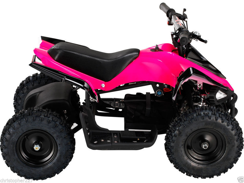 outdoor kids ride on v2 pink mini quad atv dirt bike electric battery powered electric scooters. Black Bedroom Furniture Sets. Home Design Ideas