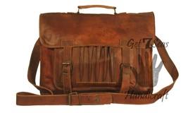 Leather satchel bags men briefcase women shoulder laptop brown vintage messenger - $55.04