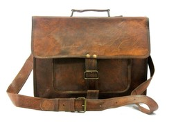 Leather computer bag women satchel shoulder men briefcase genuine messen... - $55.04