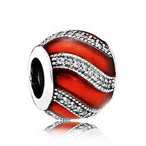925 Sterling Silver Adornment,Translucent Red Enamel Christmas Charm Bead  - €17,07 EUR
