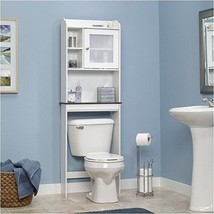 Over The Toilet Bath Cabinet Space Saving Saver Soft White Adjustable S... - $137.06