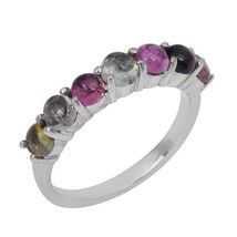 Multi Tourmaline Shiny Solid Gemstone 925 Sterling Silver Ring Sz L SHRI... - $23.09