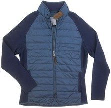 NEW DYLAN GRAY NYLON QUILTED/ KNIT MERINO WOOL NAVY PUFFER JACKET sz S - $122.61