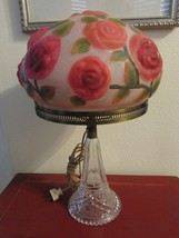 ANTIQUE PUFFY LAMP WITH GLASS BASE THIS REALLY ... - $2,475.00