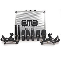 EMB EMIC-KIT7 Professional Drum Set 7 Piece Microphones Mic Kit For Home, Studio