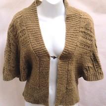 Calvin Klein Jeans S Shrug Bolero Mustard Brown Wool Blend Cardigan Sweater - $22.52