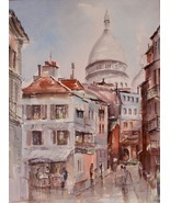 French Art Watercolor Painting Street Scene illegible Signature Home Dec... - $299.00