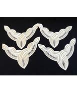 """VTG lot of 4 pc 7.25""""x 9"""" White color Lace Trim Applique Patch collar - $24.75"""