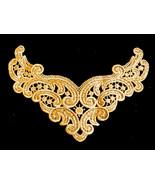 """VTG 7.5""""x 4.5"""" golden light brown color Lace Collar Trim Applique Patch - $14.85"""
