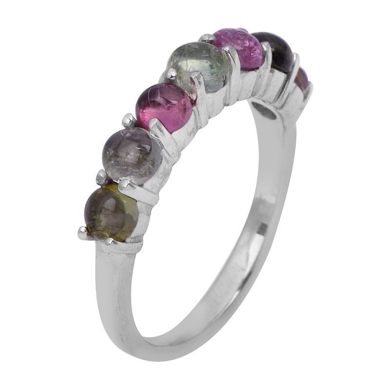 Multi Tourmaline Shiny Solid Gemstone 925 Sterling Silver Ring Sz L SHRI0763