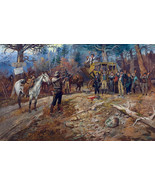 The Holdup by Charles Russell Western Cowboy Stagecoach Horses 36x24 Can... - $286.11