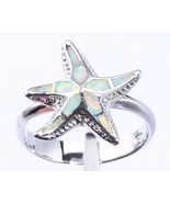 925 Sterling Silver White Fire Inlays Opal Sea Ocean Star Starfish Lovel... - $24.95