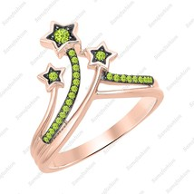 Round Peridot 14k Rose Gold Over 925 Silver Three Star Fashion Ring For ... - $63.99