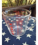 """Vintage Pyrex Measuring 4 Cup Red Lettering D Handle Glass 5.5"""" Tall - $17.81"""