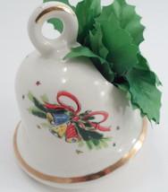 1960s Ceramic Christmas Mistletoe Bell Planter w/ Silk Holly Gold Accent... - $13.32