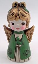 1960s Plaster Paper Mache Big Eye Golden Christmas Angel Choir Girl & Ca... - $16.88