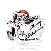 925 Sterling Silver Sleighing Santa,Translucent Red Enamel Christmas Cha... - $25.66