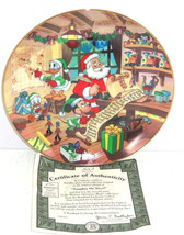 Disney Mickey Mouse Collector Plate  Holiday Magic Naughty Nice Bradford  - $59.35