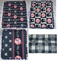 """New York Yankees Fleece Baby Blanket Pet Lap Travel  30""""x24"""" Navy Red Hand Tied - $39.95"""