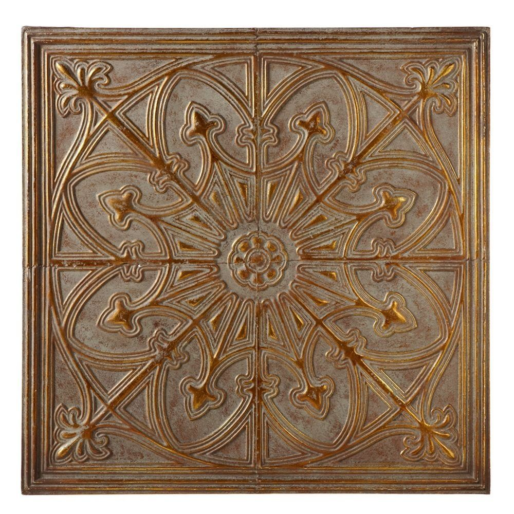 Antique grey gold medallion metal wall sculpture square for Antique wall decor