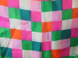 "Vintage Echo  Scarf 100% Silk 46 x 14"" Pink Green Blue Check - $22.40"