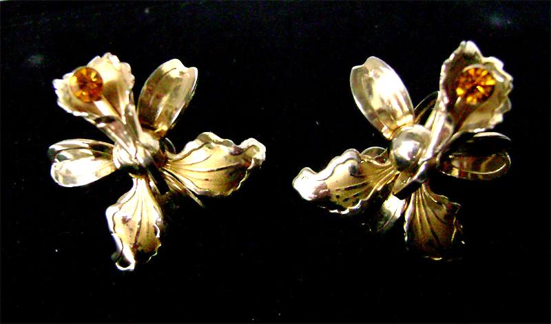 Vintage Iris Orchid Big Earrings Topaz Rhinestone Goldtone Flower 40's