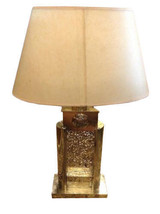 Moroccan End Table Lamp in Polished Silver Finish Carved Metal with Shade - $193.05