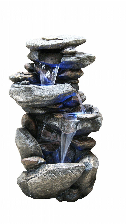 Floor Water Fountain Electric Pump Rock Garden Outdoor ...