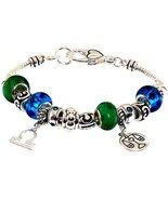 Libra Charm Bracelet Murano Bead Sept Oct Z2 Gr... - $24.63