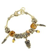 Owl Charm Bracelet Z6 Gold Murano Glass Beads C... - $24.63