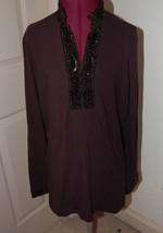 Talbots Shirt Top Tunic Small Black Sequin Trim V Neck - $25.74