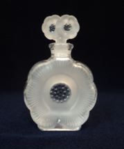 Lalique -Inspired Flower Design Frosted Art Glass Perfume Bottle w/ Doub... - $20.00