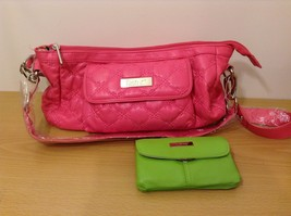 Kristine Pink Shoulder Hand Bag Bright Green Wallet New With Tags NWT