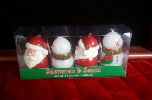 Primary image for VTG Department 56 Santa Snowman Christmas Tealight Candles Set of 4 w/box EUC