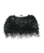 Black Bead Purse Handbag Clear Austrian Crystal... - $34.53
