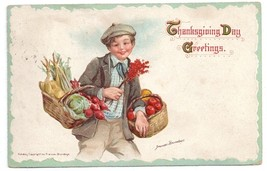 Signed Brundage Boy Baskets of Plenty Embossed Vintage Thanksgiving Post... - $4.99