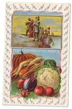 Pilgrims Landing Vegetables Silver Turkey Frame Vntg 1909 Thanksgiving P... - $4.99