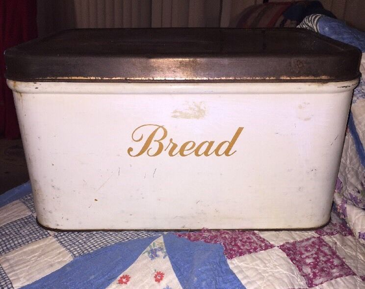 Decoware Tin Bread Box White Enamel Paint Copper Color Lid & BREAD 1940s Rustic