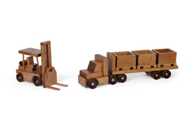 Flatbed Tractor Trailer Wood SKID TOY TRUCK & FORKLIFT Set Crates USA Ha... - $194.01