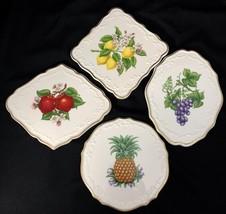 Set of 4 Lenox Orchard Trivets Porcelain Lemon Apple Grapes Pineapple 24K - $49.50