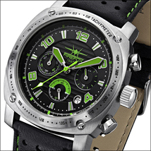 Firefox Battleship Stainless Steel Chronograph Green Date Black Leather Strap - $299.00