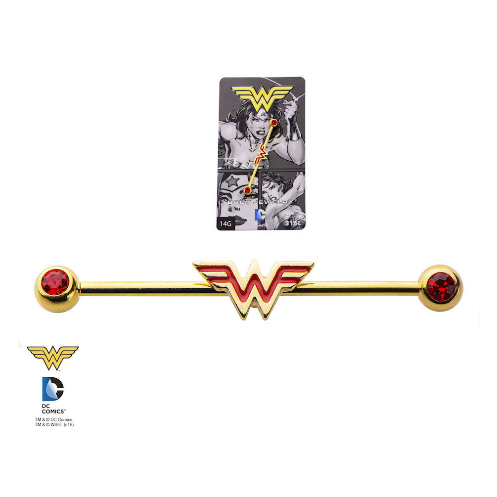 DC Comics Wonder Woman Gold Plate Industrial Barbell Piercing