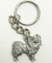 Papillon Dog Keychain Keyring Harris Pewter Made USA Key Chain Ring - $9.48