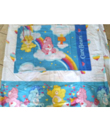 Vintage Care Bears Bed Flat Sheet Twin size & P... - $29.99