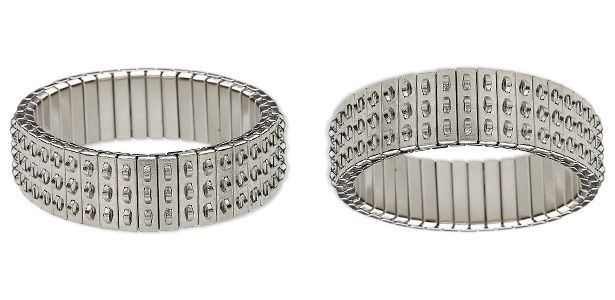 2 Stainless Steel CHA-CHA ~STRETCH Expansion Bracelets ~ 3 Rows of Loops Triple