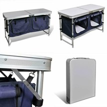 Camping Storage Table Outdoor Travel Folding Portable Barbeque Unit Cupb... - $95.02