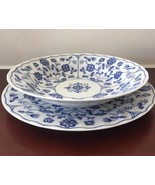 T & T Table Collection by Tono Japanese Blue Floral Plate and Soup Bowl Set - $36.45