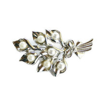 Vintage Lilly Bouquet Brooch Pin, Faux Pearls And Rhinestones Set In Sil... - $18.99