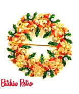 Christopher Radko Christmas Wreath Brooch with Green Enameled Holly - $22.00